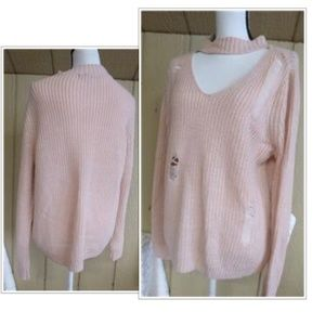 Almost Famous Crave Fame  Destroyed Choker Sweater